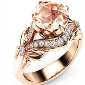 Diamond rose gold antique floral wedding bridal